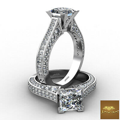 Cathedral Princess Diamond Engagement Micro Pave Set Ring GIA H Color SI1 2 Ct