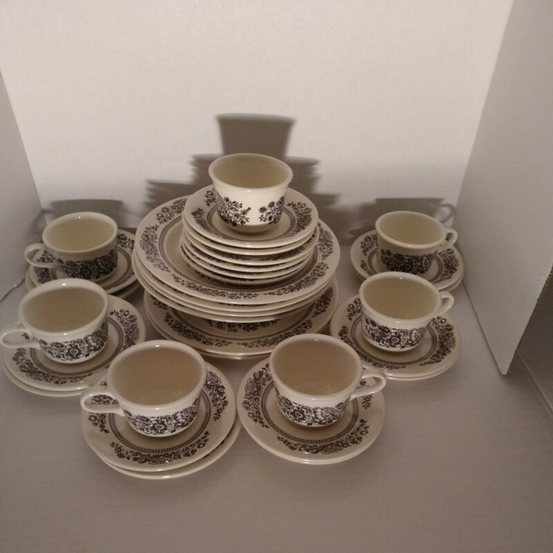 32 pc set Royal China Jeannette Sussex Dinnerware Vintage Transferware brown VTG
