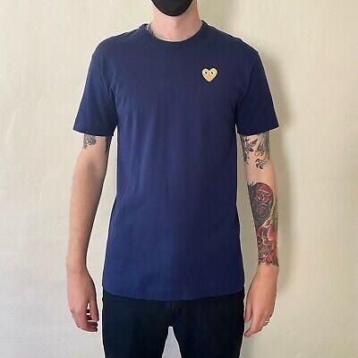 COMME DES GARÇONS PLAY Navy & Gold Heart Patch T-Shirt XL