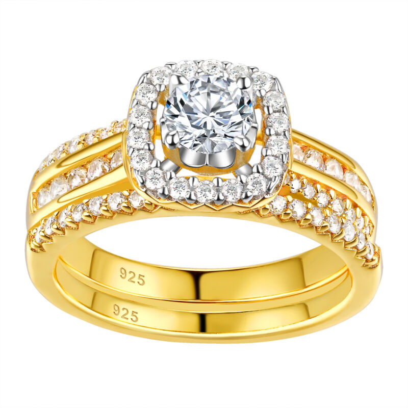 Wedding Engagement Ring Set For Women 1.2ct Yellow Gold Cz 925 Sterling Silver