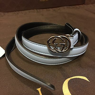 NEW Gucci Women's Belt Blue Leather Silver GG Buckle