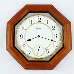 Hour Town Wood Wall Clock Octagonal Cherry Finish with Second Hand Dial 14