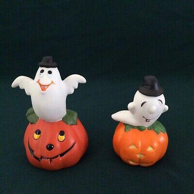 2 Halloween Ceramic Pumpkin Jack o Lantern with Ghost Figurines Used
