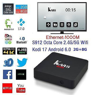 KM8 Pro 4K Smart TV Box S912 8-core Android 6.0 2G+8G 2.4/5G Wifi 1000M USA