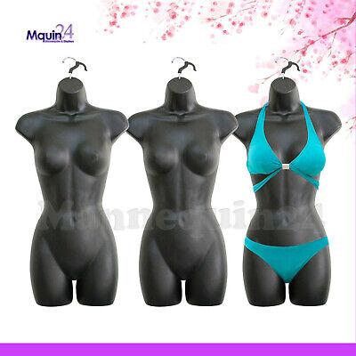Iblack Mannequin Female Torsos - Lot Of 3 Women Plastic Dress Forms With Hangers