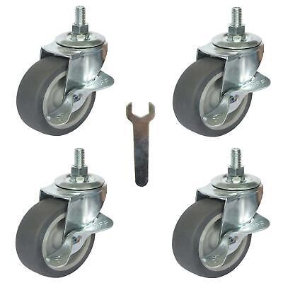 Caster Wheels Casters Set Of 4 3 Rubber Heavy Duty Threaded Stem Mount Industri