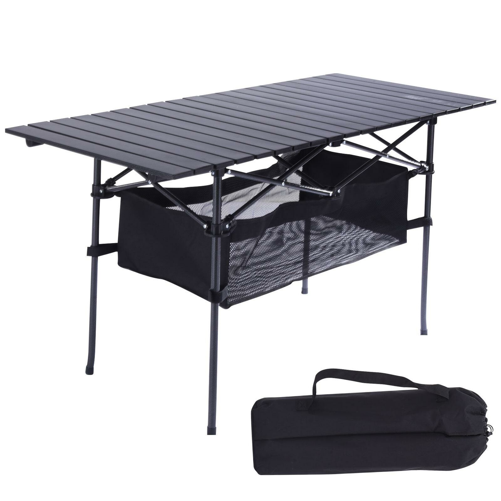 Portable Folding Aluminum Roll Up Table Lightweight Outdoor Camping Picnic Bag - $56.90