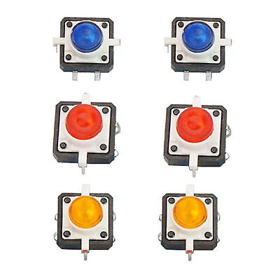 6 X Led Tactile Push Button Switch Momentary Tact 12x12 4pin Round Cap 3 Color