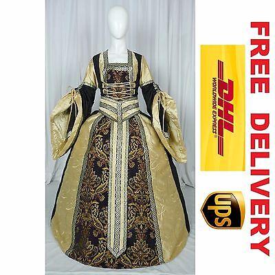 MEDIEVAL RENAISSANCE TUDOR WEDDING HANDFASTING LARP GOWN DRESS COSTUME (19C)