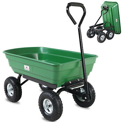 Pull Along Trolley Cart Wagon Garden Truck Wheelbarrow Dump Barrow Trailer Green