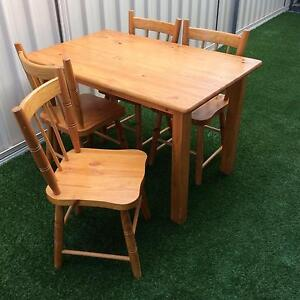 Pine Dining table and 4 chairs Meadow Springs Mandurah Area Preview