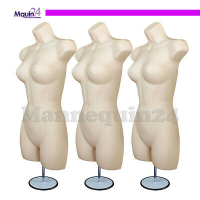 3 Pack Mannequin Torso Dress Forms With 3 Stands 3 Hangers Flesh Female Body