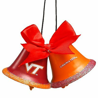 Virginia Tech Hokies Metal - Virginia Tech Hokies Christmas Tree Holiday Ornament New 2 Metal Bells with bow