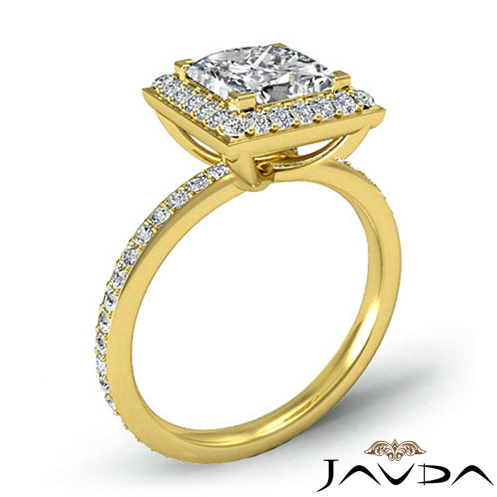 Halo Pave Set Princess Cut Diamond Engagement Ring GIA G Color VS1 Clarity 2.5Ct 8