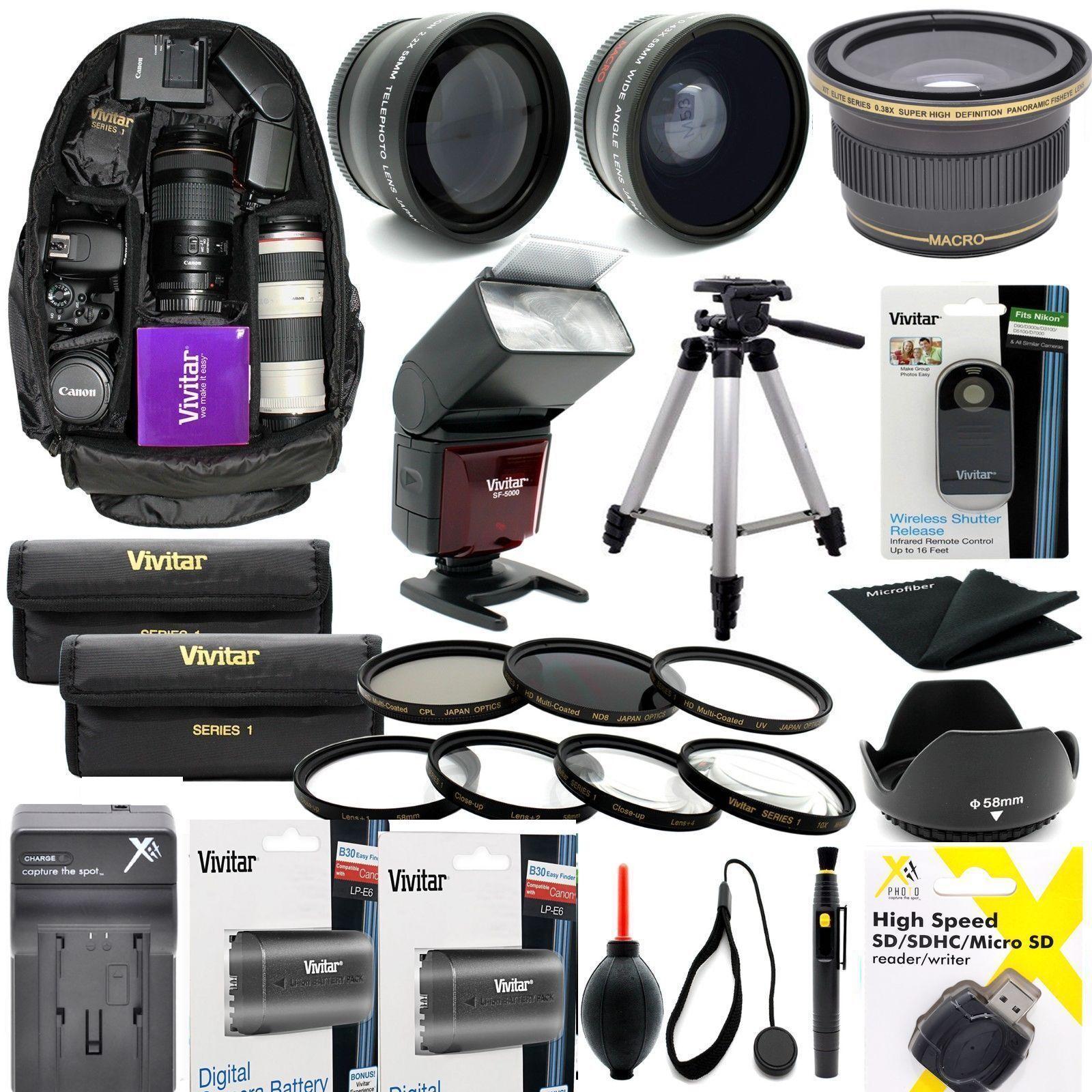 как выглядит Набор аксессуаров для фотоаппаратов или видеокамер CANON EOS REBEL 80D COMPLETE HD 58MM ACCESSORY KIT LENSES TRIPOD BACKPACK FLASH фото