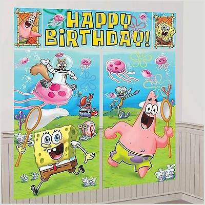 SPONGEBOB SCENE SETTER Happy Birthday Party Wall Decoration Room Decor BACKDROP