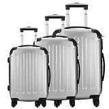 3 Piece Luggage Set Silver Carry On Trolley Suitcase Travel Spinner ABS PC