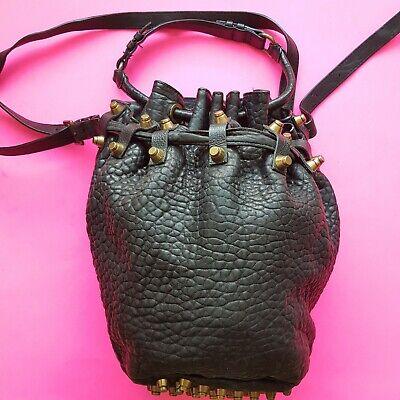 Alexander Wang Diego Black Pebbled Leather Bucket Bag Shoulder Crossbody Handbag