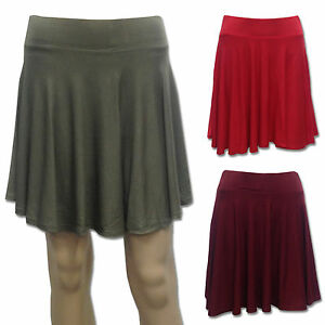 LADIES-WOMENS-NEW-MISSGUIDED-SEXY-KHAKI-RED-BURGANDY-MINI-SKATER-SKIRT-SIZE-8-14