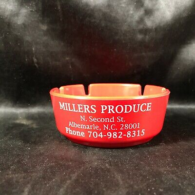 Vintage Red Advertising Ashtray Millers Produce Albemarle NC