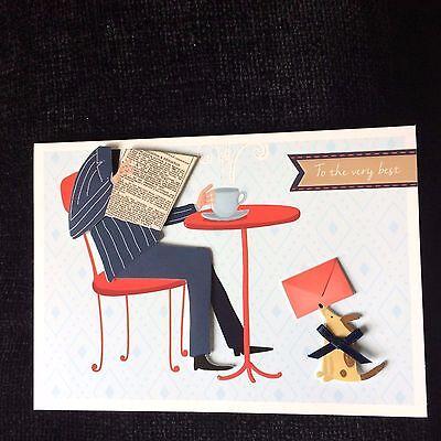 Birthday Card Business Man Newspaper Dog Best Wishes NEW Burgoyne