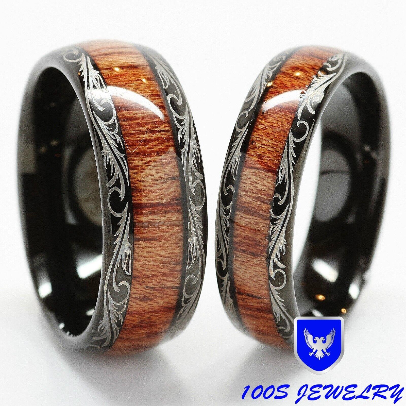 men & women's tungsten carbide wedding band wood inlay comfort fit