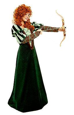 Forest Princess Merida Brave Renaissance Medieval Costume Dress 4-14 Adult S-L - Adult Merida Brave Costume
