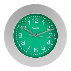 8021 Advance Time Technology 9 Silver Plastic Frame Analog Quartz Wall Clock