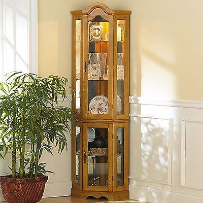 Golden Oak Finish Lighted Glass 5-Shelf Corner Curio Cabinet Furniture Display
