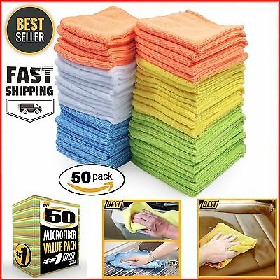 Microfiber Cleaning Cloth Set of 50 Towel Rag Car Polishing Detailing No-Scratch