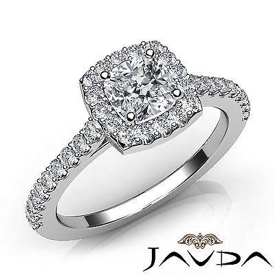 French U Pave Set Halo Cushion Natural Diamond Engagement Ring GIA F VS1 1.22Ct