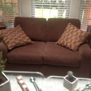SKLAR PEPPLER  BROWN COUCH AND CHAIR - LIKE NEW