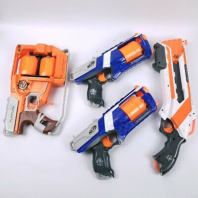 Lot of 4 NERF Guns Zombie Strike FLIPFURY ROUGHCUT 2X4 and 2 STRONG ARMS