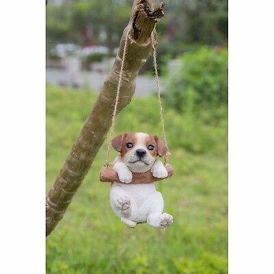 (Hanging JACK RUSSEL TERRIER Puppy Dog -Life Like Figurine Statue Home Garden NEW)