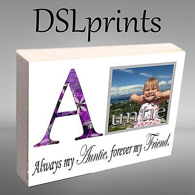 Wooden Photo Blocks (Personalised Photo Block Wooden Picture Frame Any Image Auntie Uncle Daddy)