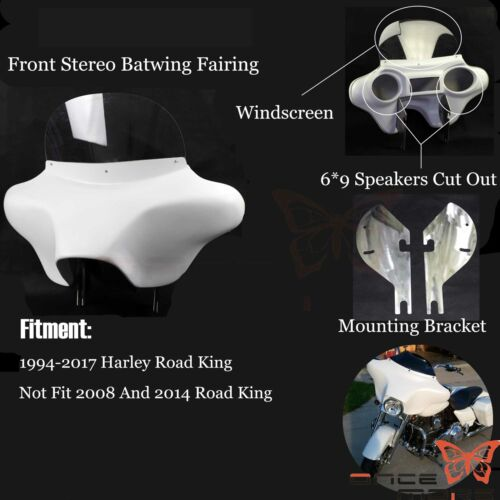 """Detachable Batwing Fairing 6/""""x 9/"""" Speakers Stereo For Harley Davidson Road King"""