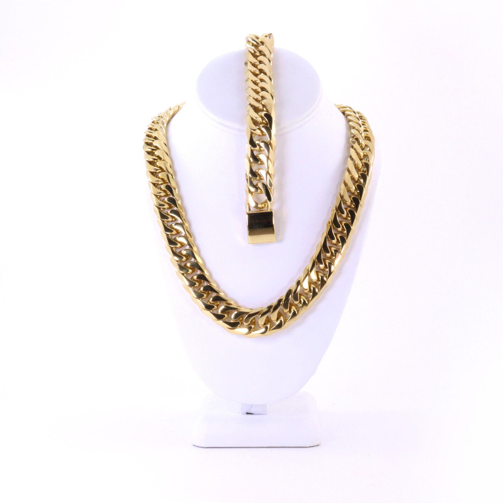 5d2d5eb2f14eb Details about Miami Cuban Chain Mens 18mm Large Thick 14K Gold Plated JayZ  Bracelet Set