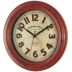 Wall Clock Round Home Office Kitchen 11.5 Red Vintage Decor, Rustic Farmhouse