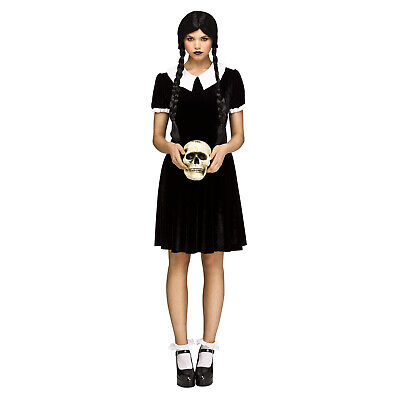 Adult Women's Gothic Wednesday Addams Doll Halloween Costume Black Dress S M L
