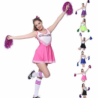 Cheerleader Fancy Dress Outfit Uniform High School Musical Costume with Pom Poms - Cheerleader Dress Up Costume