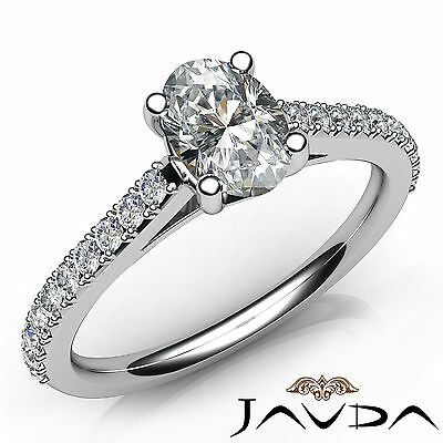 Cathedral French V Pave Oval Diamond Engagement Ring GIA Certified E VVS1 0.8Ct