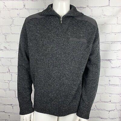 Fjallraven Men's Koster Sweater Gray 1/4 Zip Elbow Patch Pullover Wool