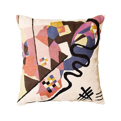 """Kandinsky Ivory Decorative Pillow Cover Hand embroidered Wool 18"""" x 18"""""""