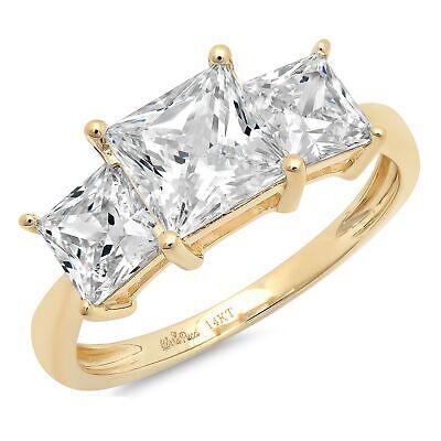 3 Princess Cut 3 Stone Moissanite Classic Bridal Statement Ring 14k Yellow Gold