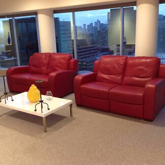 """2 x 2 seater red italian """"Natuzzi"""" imported leather sofas Albert Park Port Phillip Preview"""
