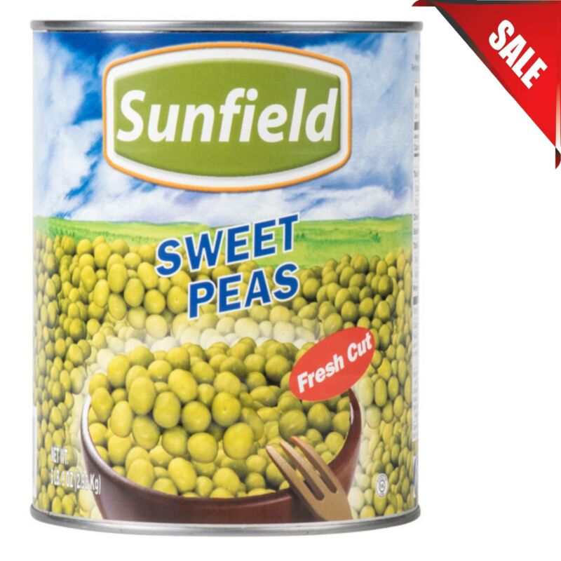 (CASE OF 6) Wholesale #10 Can Sweet Peas Fresh Canned Pantry Food Tender