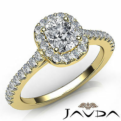 Halo French U Pave Cushion Diamond Engagement Yellow Gold Ring GIA F VS1 0.85Ct