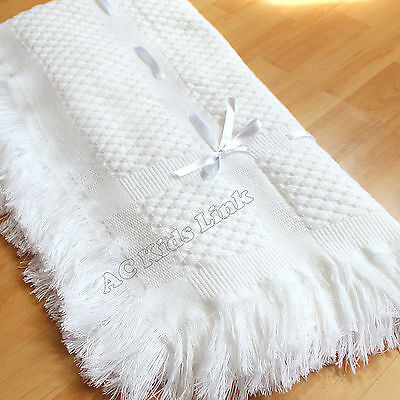 New BeeBo Lisa White Shawl Baby Boys Girls Blanket Shawl wth Fringe Satin Ribbon