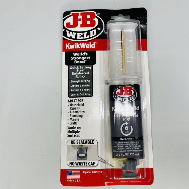 J-B Weld 50176 KwikWeld Steel Reinforced Epoxy Syringe Dark Grey 25 ml NEW
