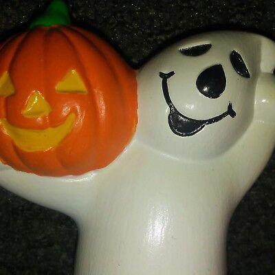 VINTAGE CERAMIC GHOST HOLDING A PUMPKIN HALLOWEEN + Pumpkin